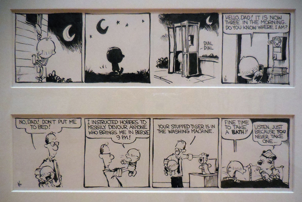 Calvin with a rather sullen hairdo. Exploring Calvin and Hobbes exhibit, BICLM, Mar. 22-Aug. 3.,2014