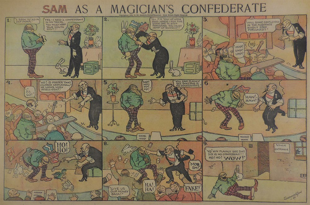 """Sam as a Magician's Confederate,"" 1905. San Francisco Academy of Comic Art collection, Billy Ireland Comics Library and Museum."