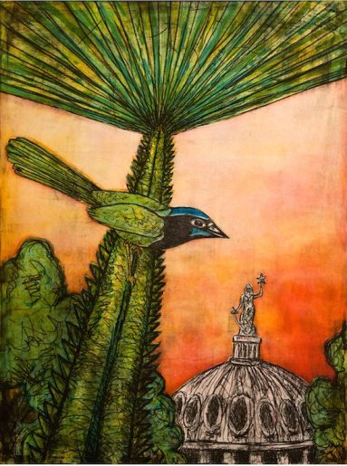 "Frank X. Tolbert, Green Jay, color etching, 22""x30"" (flatbedpress.com)"