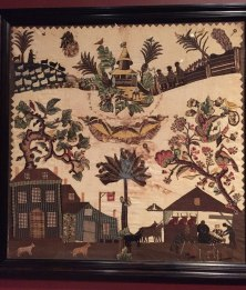 A beautiful embroidered coverlet by Sarah Furman Warner WIlliams, c. 1800.