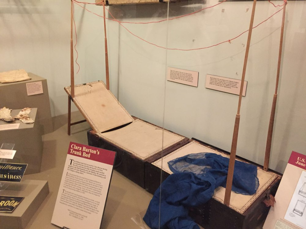 Clara Barton's folding trunk bed. The poles were used to support mosquito netting, needed to prevent malaria.