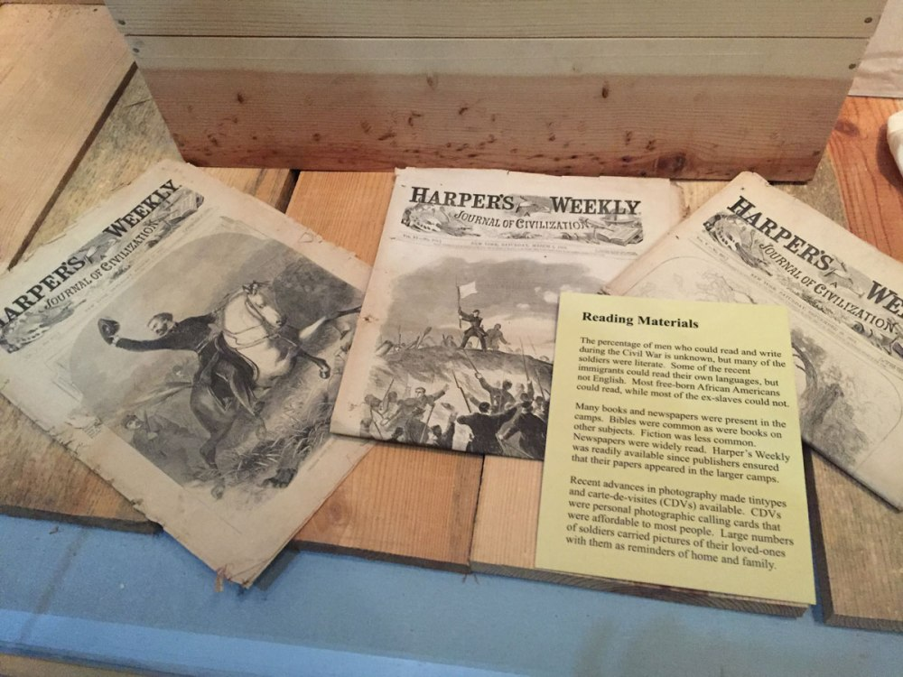 We've seen these! Harper's Weekly was one of the main sources of reading material in camp.