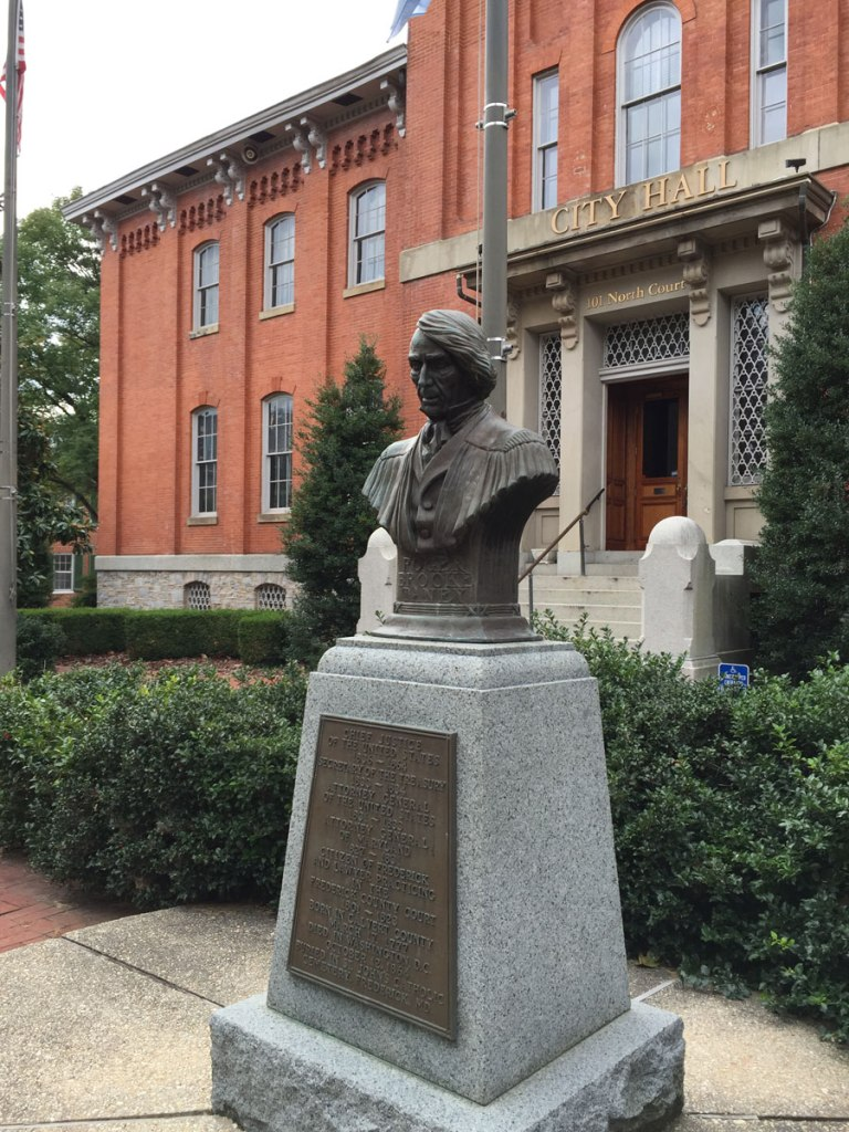 Controversial monument to Roger Taney, Head Justice of the Supreme Court and author of the Dred Scott decision (1857).