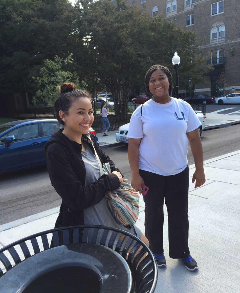My students Ashley & Jacqueline, waiting near JHU for the #11 MTA bus back to Loyola.